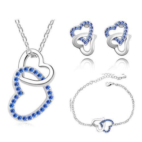 Jewellery-Jewelry-Set-Royal-Blue-Crystal-Heart-Earrings-Bracelet-Necklace-S465