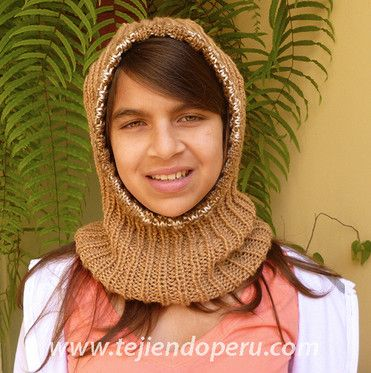 Cómo tejer una capucha con cuello en dos agujas o palitos!