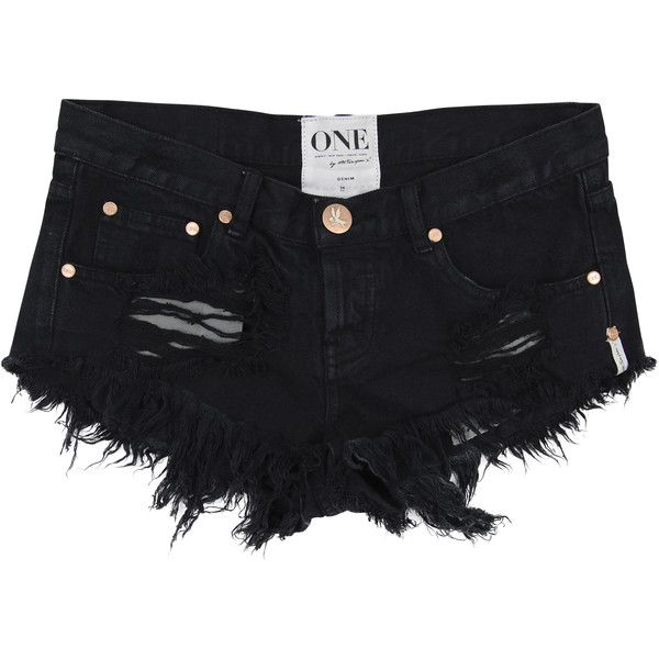 Anna Kosturova- E. SHORTS- One Teaspoon Lond Bonitas ($90) ❤ liked on Polyvore featuring shorts, destroyed denim shorts, short shorts, jean shorts, destroyed jean shorts and torn shorts