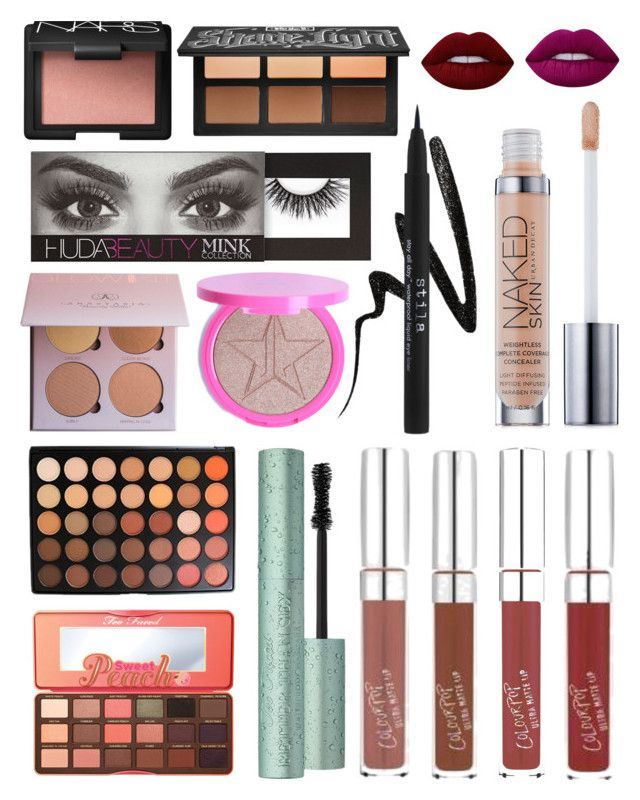 """""""wish list"""" by kohlpixie on Polyvore featuring beauty, Morphe, Kat Von D, Stila, Too Faced Cosmetics, Urban Decay, Lime Crime and NARS Cosmetics"""