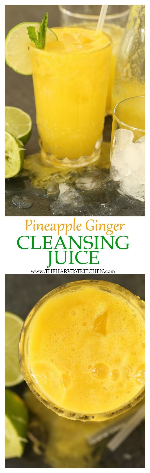 This Pineapple Ginger Cleansing Juice is rich in antioxidants and helps to aid digestion, and gently cleanse and alkalize the body. | detox drink | | liver cleanse | | pineapple ginger detox drink | | healthy recipes |