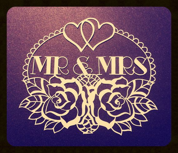 Mr & Mrs  CYO papercutting template by TreefrogsTrinkets on Etsy, £5.00