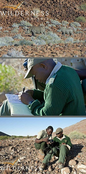 We Are Wilderness - By visiting Desert Rhino Camp, Wilderness Safaris' guests make a direct and meaningful difference that is critical to the sustainability of Save The Rhino Trust - Namibia. Click on the image for the full story.