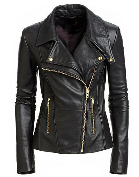 Womens leather jacket Assymetrical leather jacket Zippered midsection and side pockets Anthracite collar Gold embellishments Assymetrically cut collar 100% genuine leather Soft, supple leather This wo