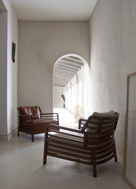 A solid Walnut Flax Armchair. Stocked in Bari-Ecru fabric.