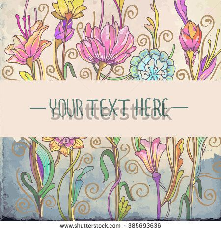 Greeting card with flower, colorful floral background, Flower pattern with watercolor background. can be used as invitation card. - stock vector
