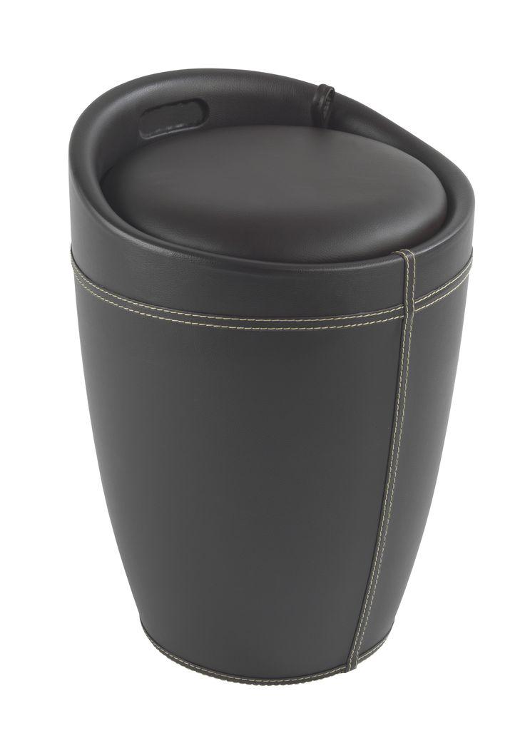 WENKO Hocker Candy Braun in Lederoptik Badhocker mit abnehmbarem Wäschesack  Description: Der trendige Badhocker und Wäschesammler Candy ist aus stabilem ABS-Kunststoff gefertigt. Mit seiner trendigen braunen Lederoptik und den farblich abgesetzten Ziernähten wird das moderne Accessoire zum Design-Hingucker in jedem Bad. Viel Stauraum für Wäsche bietet der praktische Badhocker unter der Sitzfläche. In dem herausnehmbaren Wäschesack finden dekorativ 20 Liter Wäsche Platz bis zum nächsten…