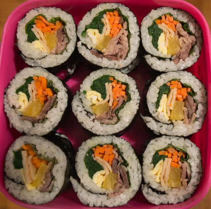 Gimbap (김밥) – Seaweed Wrapped Rice with Meat and Vegetables