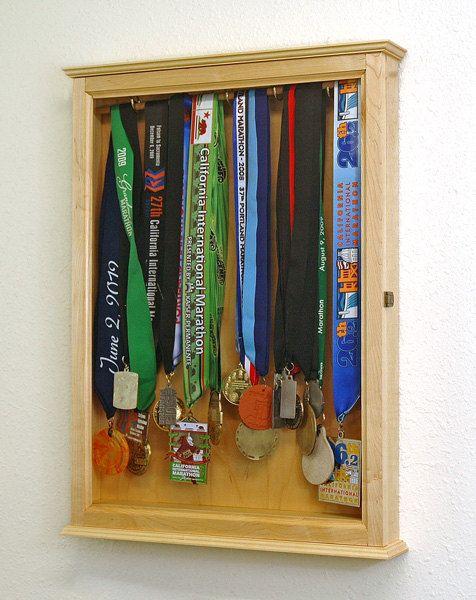 Marathon Medal CabinetMaple Hardwood by fwdisplay on Etsy, $109.95...gotta make one of these!
