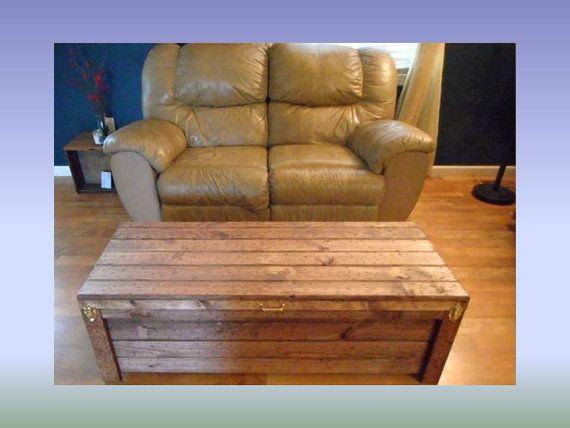 Wooden Hope Chest Coffee Table Gun Case Cabinet Hidden