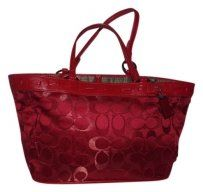Coach Kyoto Collection Limited Edition Red Silk Handbag Tote