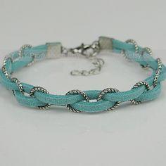Braid Bracelet Leather Bracelet Antique Silver Rings---vma.