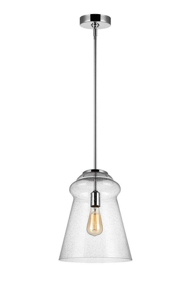 The Loras 1-Light Mini Pendant from Feiss is a contemporary take on historic, industrial design. Clear Seeded glass shades add more rustic charm to this vintage-inspired silhouette.Through the clear glass shades, the exposed bulbs are central to the design theme, so Edison-style bulbs are a perfect choice. With our new sleek design available in a Chrome (shown) and Dark Weathered Iron finish. Perfect for kitchen, living room, or dining room lighting.