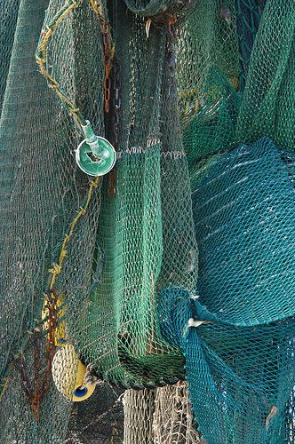 Shrimp nets - fantastic textures and colors. I see these every day! Here it's art!