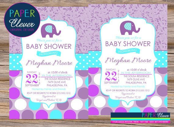 Purple And Aqua Baby Shower Invitations