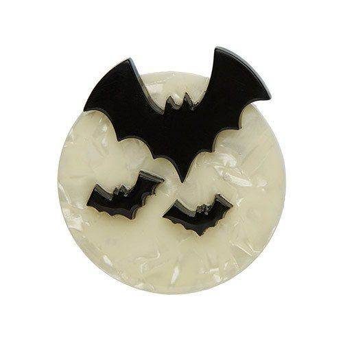 All Hallows Eve (Erstwilder Black and White Resin Bat Brooch) - Glitterally.co.uk