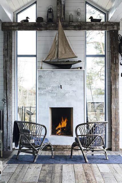 tall narrow fireplace, tall skinny windows