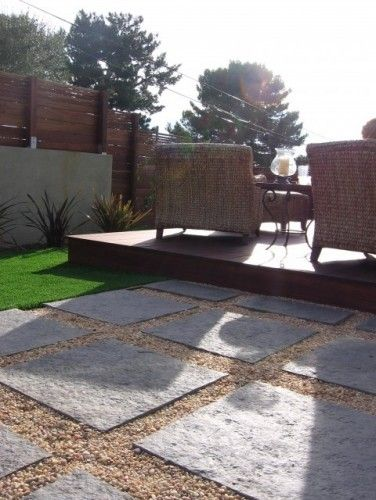 low deck + patio stones