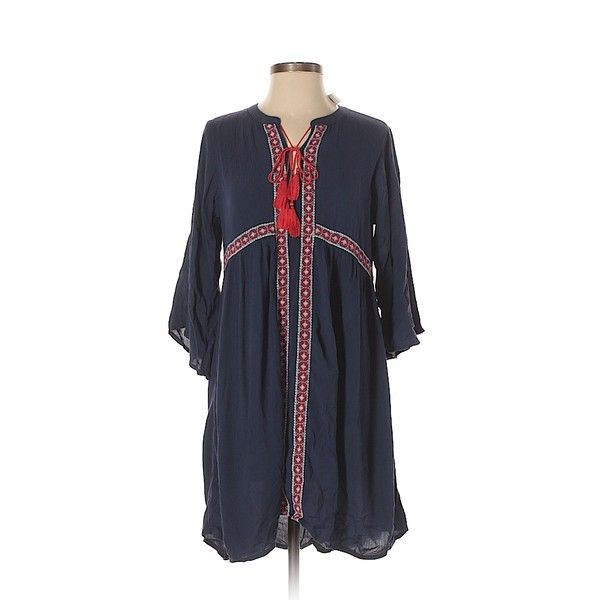 Old Navy Casual Dress ($15) ❤ liked on Polyvore featuring dresses, navy blue, old navy, navy dress, viscose dress, old navy dresses and rayon dress