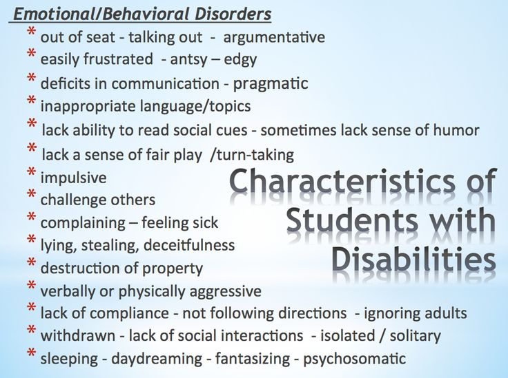 Classroom Design For Students With Emotional And Behavioral Disorders ~ Best images about characteristics of students w