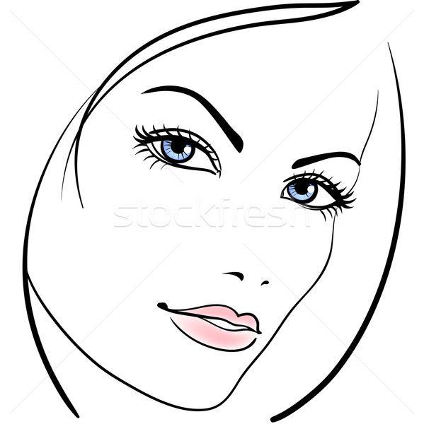 Photo stock beaut fille visage vecteur ic ne femme croquis de portrait pinterest - Visage profil dessin ...