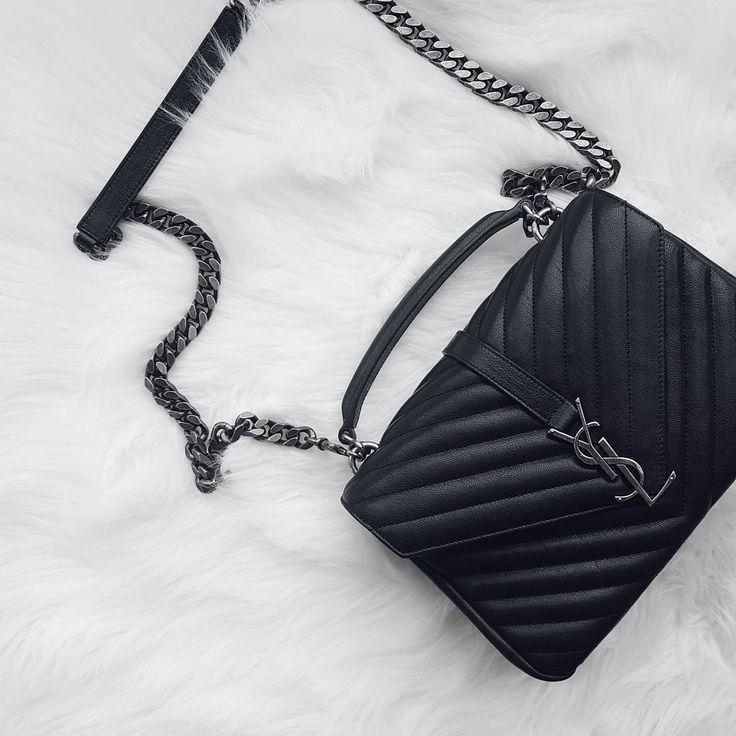 YSL Classic Medium Monogram Saint Laurent College Bag. Celebrity Street Styles #YSL #Handbag.