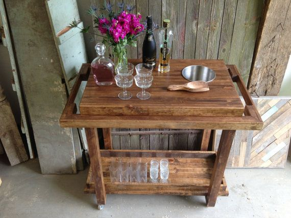 Rustic Bar Cart Trolley Storage on Casters by newantiquity on Etsy New Antiquity Beverage Cocktail Drink tray sideboard entertaining
