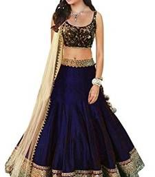 Buy Navy blue embroidered art silk unstitched lehenga ghagra-choli online