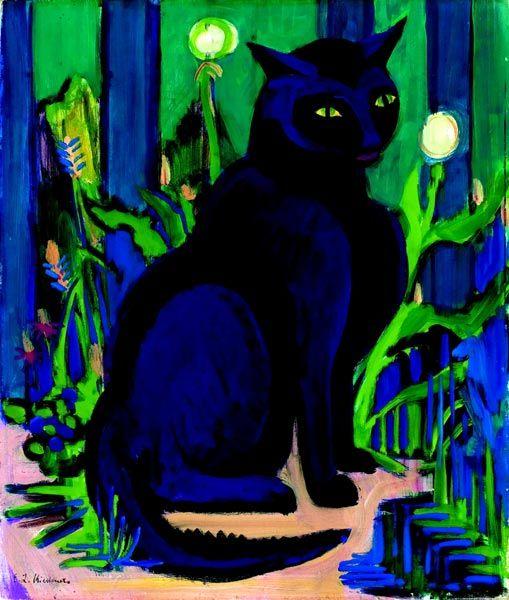 Ernst Ludwig Kirchner (Alemania,1880-1938). Schwarzer Kater (Bobby), 1924-1926.
