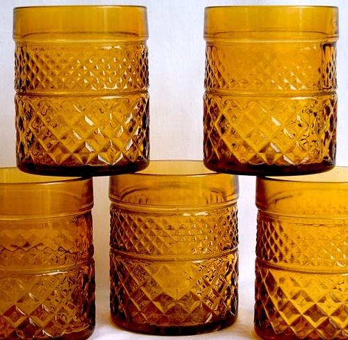 Amber Depression Glass Tumblers |