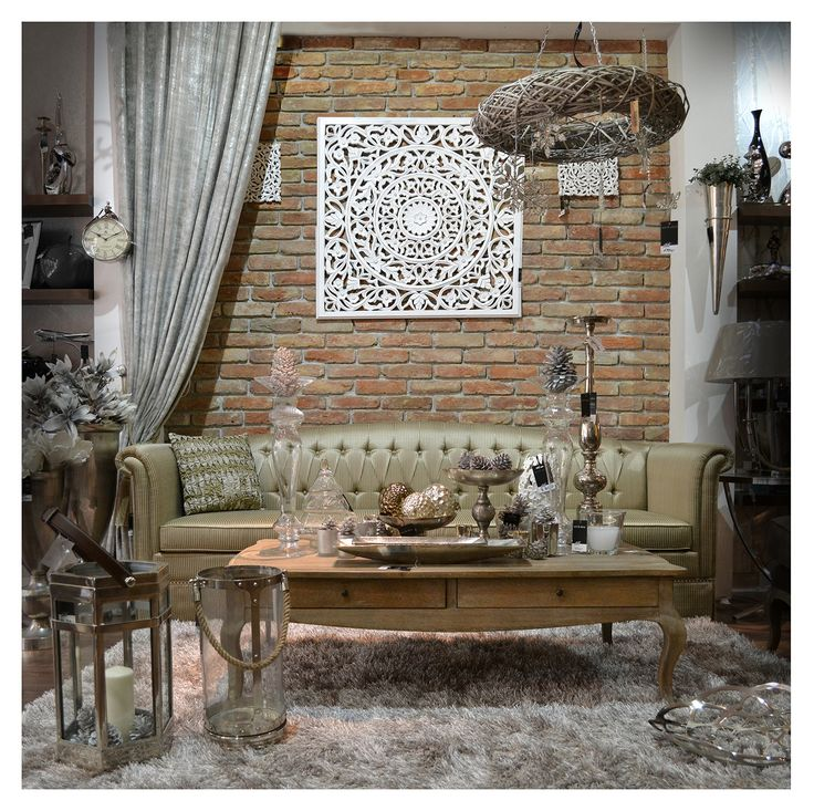 Tűzött kanapé és rusztikus téglafal / Tufted sofa with exposed brick wall  living room  dining room kitchen chairs airmchairs mirror mirrors sofa turquoise interior  desing home furniture lamp