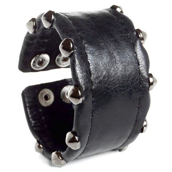 Genuine Leather Wristband, Spikes Leather Wide Bracelet. Price: 40$.