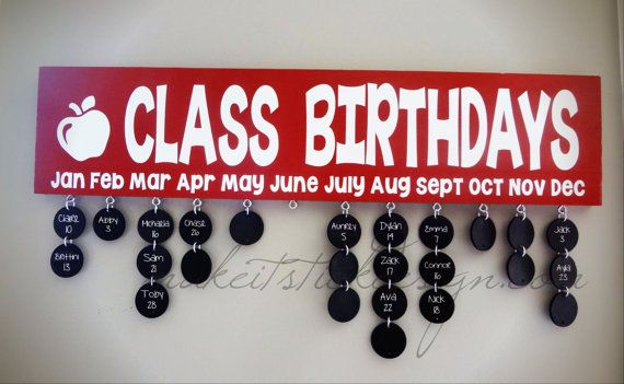 Class Birthdays Wood Wall Hanging- BACK TO SCHOOL - Teacher Gift