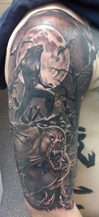 Holy werewolf sleeve, Batman!Tattoo Ideas, Horror Tattoo, Holy Werewolf, Awesome Tattoo, Ass Tattoo, Chris Tattoo, Werewolf Sleeve, Werewolf Tattoo, Dads Tattoo