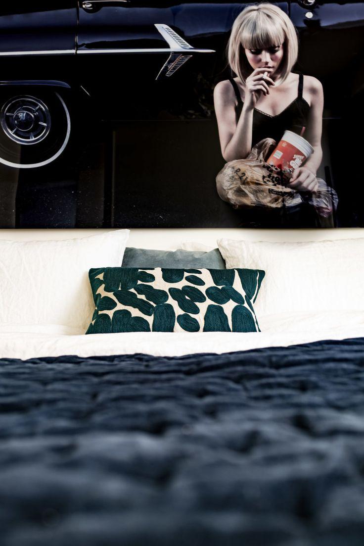 Bedroom details in dark blue..
