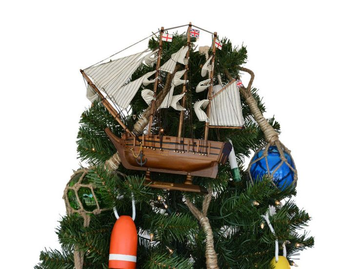 Wooden Charles Darwin's HMS Beagle Model Ship Christmas Tree Topper Decoration