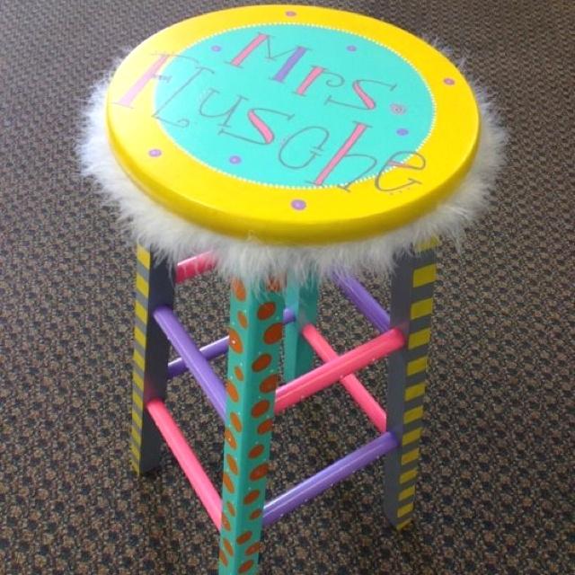 Custom hand painted stool