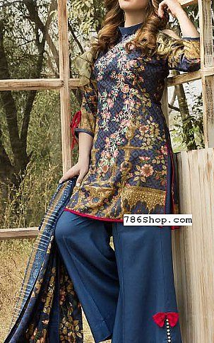 Blue Linen Suit | Buy Shaista Pakistani Dresses and Clothing online in USA, UK