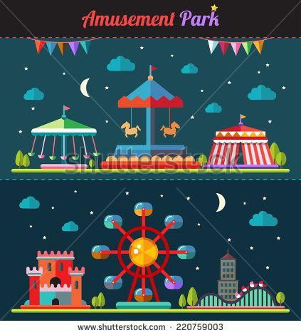 Set of vector flat design composition with amusement park elements - stock vector