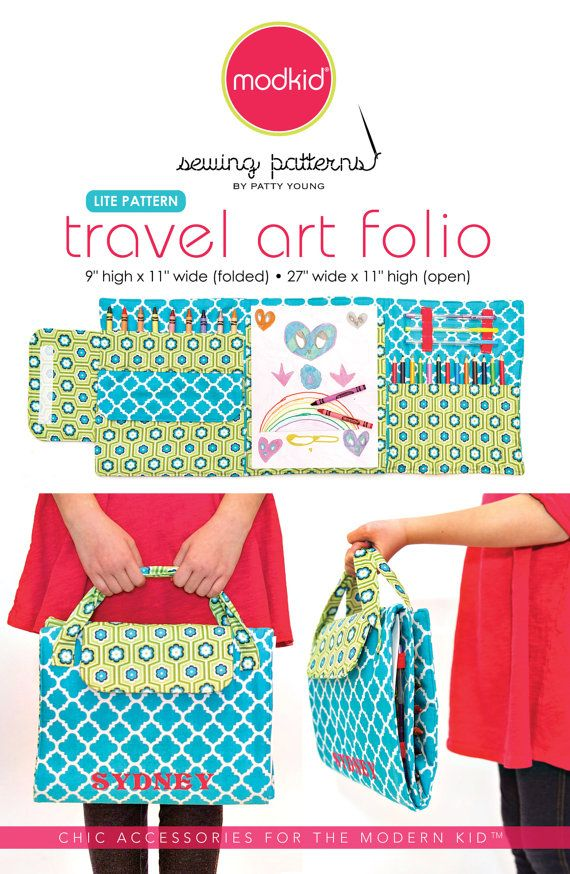 Our Travel Art Folio is perfect for kids of all ages! It holds 12 colored pencils, 9 crayons, 3 gel pens or mechanical pencils, an 8 x 10 paper pad (or loose paper), plus it has an extra pouch that is perfect for holding scissors, erasers, extra crayons or pencil lead. The folio folds up into a nice little briefcase shape complete with Velcro® tab and handles for easy carrying.  SUGGESTED FABRICS: Designer quilting cottons or twills, 44/45 wide. Non-directional prints work best! Use Patty…