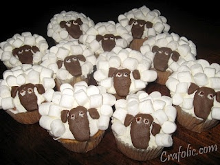 Cute lamb cupcakes for the Lost Sheep parable