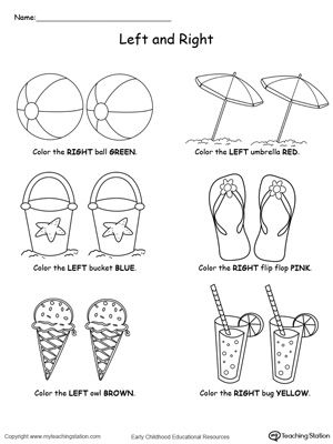 **FREE** Summer Items Left and Right Position Worksheet Worksheet. Help your child practice recognizing left from right with this summer items left and right position worksheet.