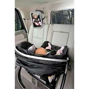Keep tabs on your rear-facing baby while you're in the driver's seat with the Britax Backseat Mirror. The shatter-proof large convex car mirror provides a full view of your baby at any angle so you can quickly see if your little one has fallen asleep or lost a pacifier. The included adjustable straps easily attach this sleek, modern Britax mirror to your car's head restraints. Ages newborn and up. Wipes clean.