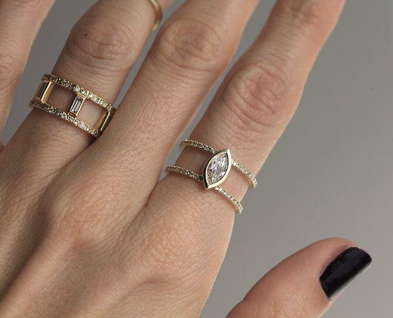 Half Carat Diamond Engagement Ring Double Diamond by capucinne