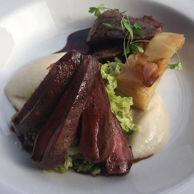 Pigeon, salsify, Savoy cabbage & pressed potato £9. A new Galli plate available 12-10pm