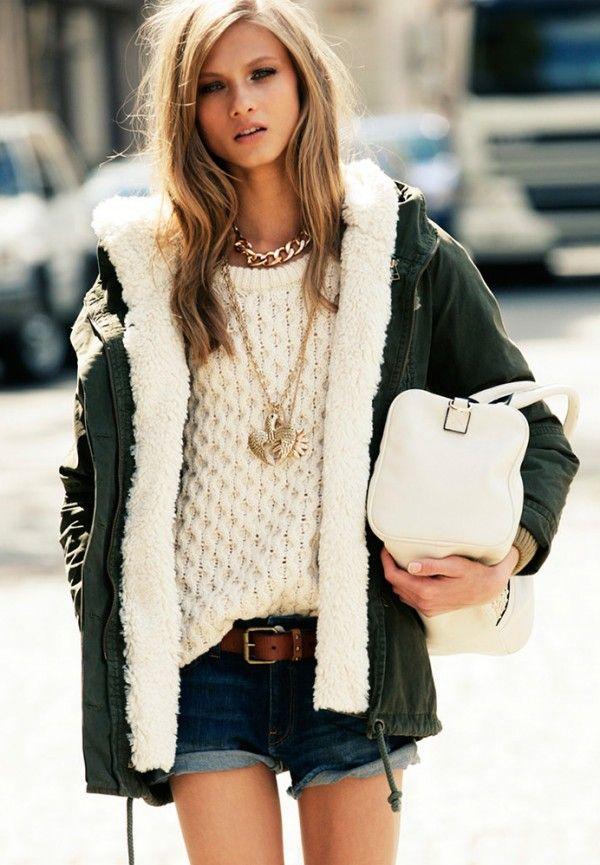 Denim shorts, belt, knit, warm jacket and high boots .. Anna Selezneva