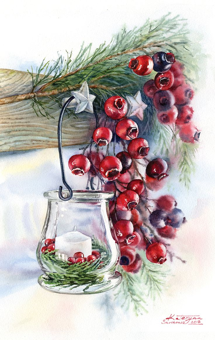 Watercolor illustrations for Christmas cards - winter glass candlelight with traditional red berries. Commercial aquarelle illustrations by Kateryna Savchenko