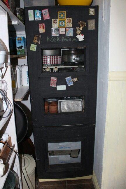 Old fridge converted for potsvsnd pabs cupboard