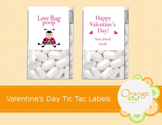 Valentine's Day Tic Tac Labels Love Bug Poop Stickers