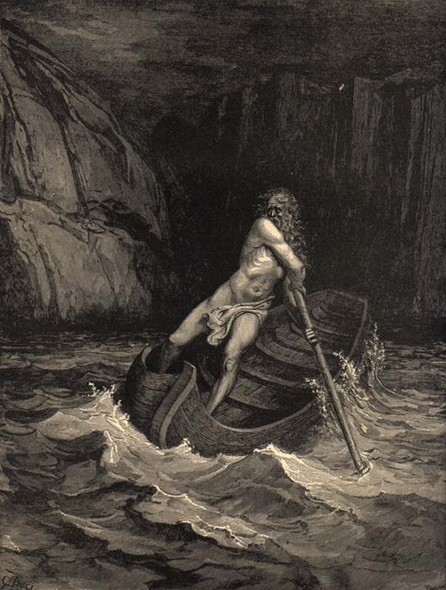 Gustave Doré's illustration to Dante's Inferno. And lo! towards us coming in a boat An old man, hoary with the hair of eld, Crying: 'Woe unto you, ye souls depraved!'